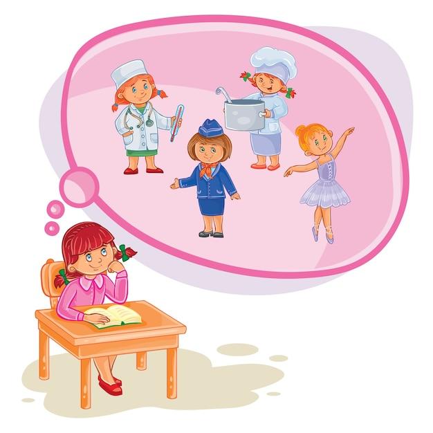 Ilustração vetorial de uma menina que sonha Vetor grátis