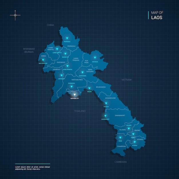 Ilustração vetorial do mapa do laos com pontos de luz de néon azul Vetor Premium