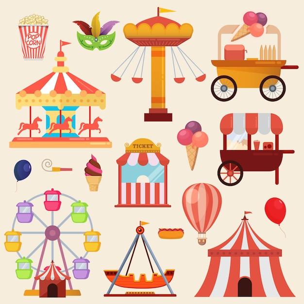 Ilustração vetorial dos elementos de design de parque de diversões de carnaval Vetor Premium