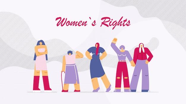 Ilustração vetorial é escrita direitos das mulheres. Vetor Premium