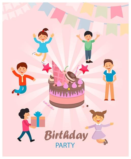 Ilustração vetorial é escrita festa de aniversário. Vetor Premium