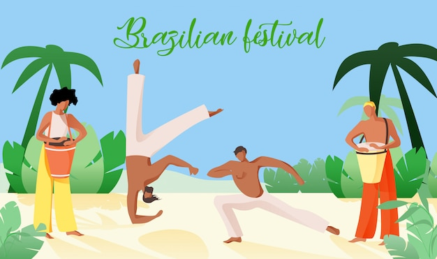 Ilustração vetorial é escrita festival brasileiro. Vetor Premium