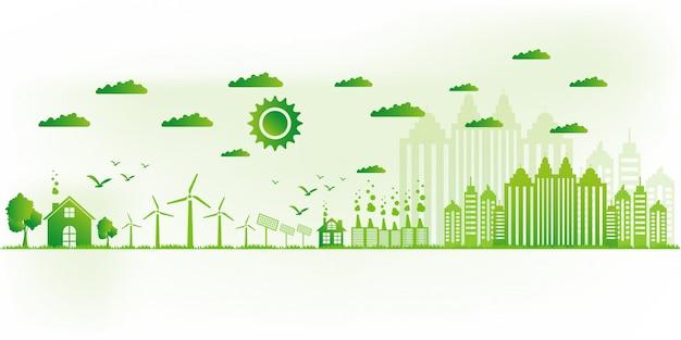 Ilustração vetorial eco friendly conceito, cidade verde salvar o mundo, Vetor Premium