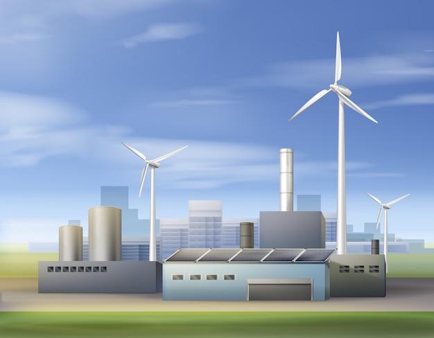 Ilustração vetorial energia renovável e biocombustível com uso de turbinas eólicas e painéis solares na área industrial Vetor grátis