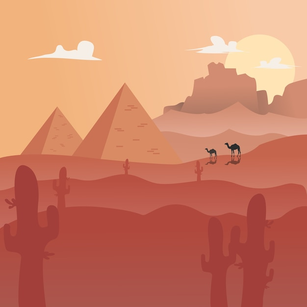 Ilustração vetorial: flat landscape desert background Vetor Premium