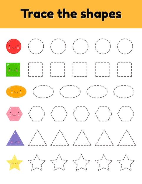 Ilustração vetorial folha de seguimento educacional para o jardim de infância das crianças, pré-escolar e idade escolar. trace a forma geométrica fofa. linhas tracejadas. Vetor Premium