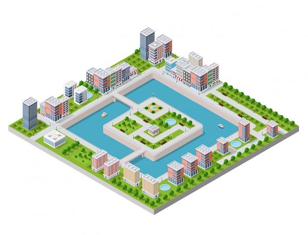 Ilustração vetorial isométrica de uma cidade moderna Vetor Premium