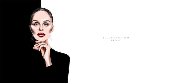 Ilustração vetorial linda jovem em roupas pretas. maquiagem brilhante. ilustração na moda. Vetor Premium