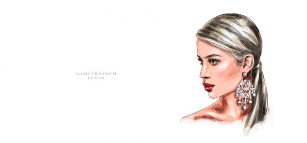 Ilustração vetorial mulher jovem e bonita com maquiagem vívida. Vetor Premium