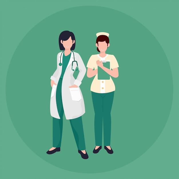 Ilustração vetorial mulher médico e enfermeira estilo simples Vetor Premium