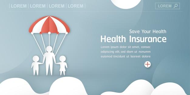 Ilustração vetorial no conceito de seguro de saúde. Vetor Premium