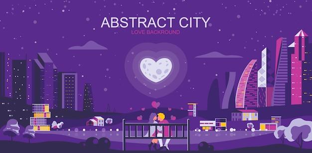 Ilustração vetorial no estilo simples simples - paisagem romântica da cidade com um casal apaixonado Vetor Premium