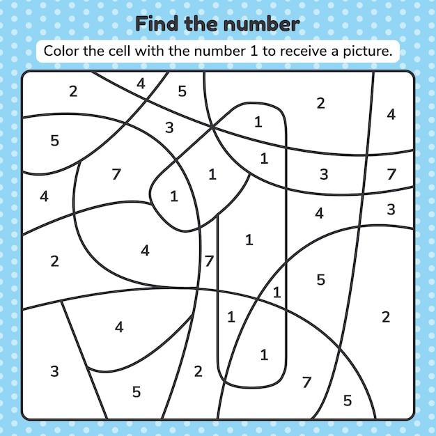 Ilustração vetorial número de livro de colorir para crianças. planilha para pré-escola, jardim de infância e idade escolar. Vetor Premium