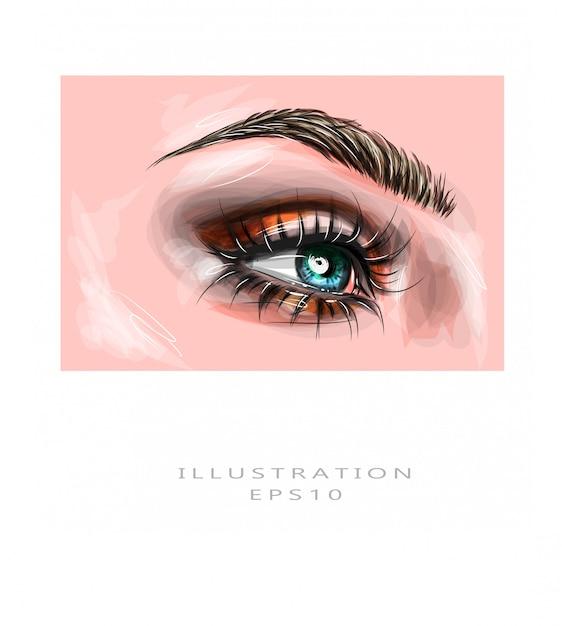 Ilustração vetorial olhos de close-up de uma mulher azul com marrom bonito com tons de vermelhos e laranja, maquiagem dos olhos esfumaçados. maquiagem moda moderna. Vetor Premium