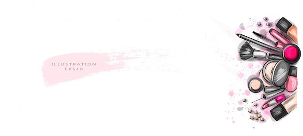 Ilustração vetorial os cosméticos decorativos são espalhados de maneira caótica. Vetor Premium