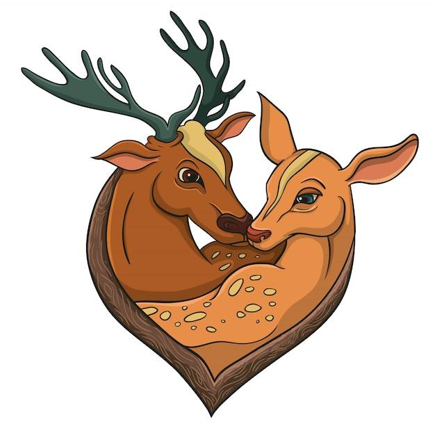 Ilustração vetorial para feliz dia dos namorados sobre veados Vetor Premium