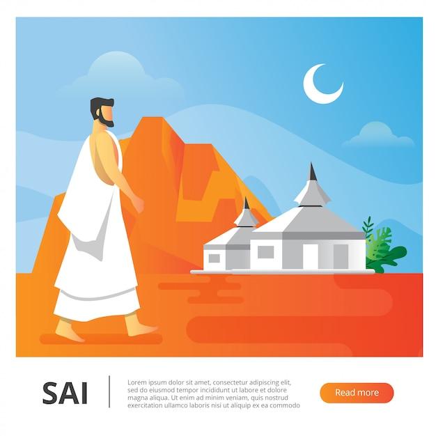 Ilustração vetorial para homem durante a temporada de hajj andar atrás do acampamento Vetor Premium