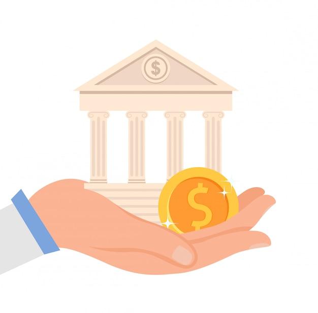 Ilustração vetorial plana de instituição financeira Vetor Premium