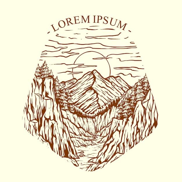 Ilustração vetorial pôr do sol nas falésias da montanha Vetor Premium