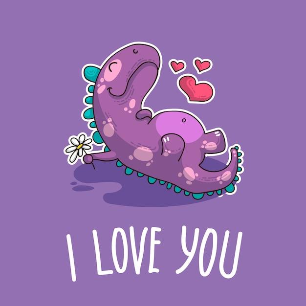 Ilustração vetorial sobre dinozaur no amor Vetor Premium