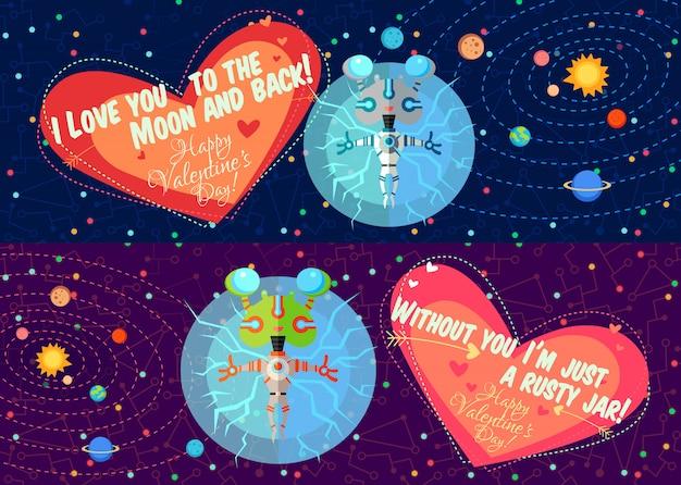 Ilustração vetorial sobre o espaço para o dia dos namorados Vetor Premium