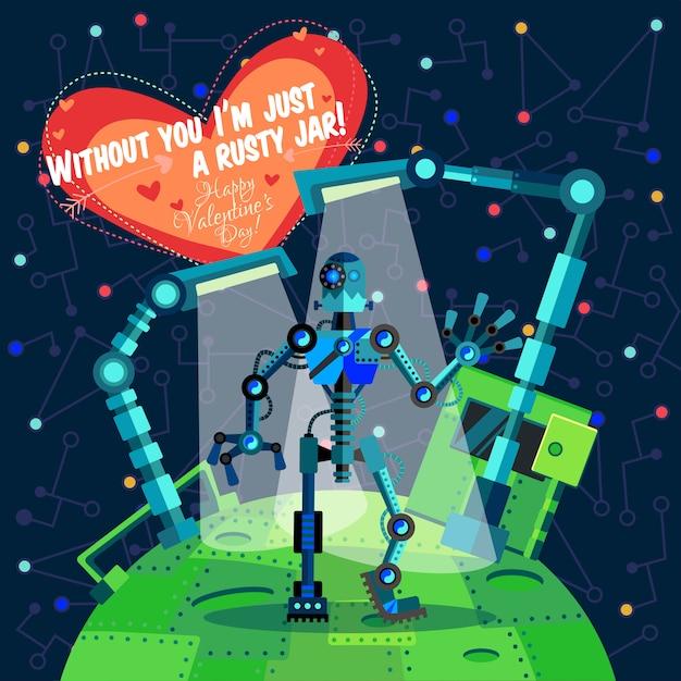 Ilustração vetorial sobre robô no dia dos namorados Vetor Premium