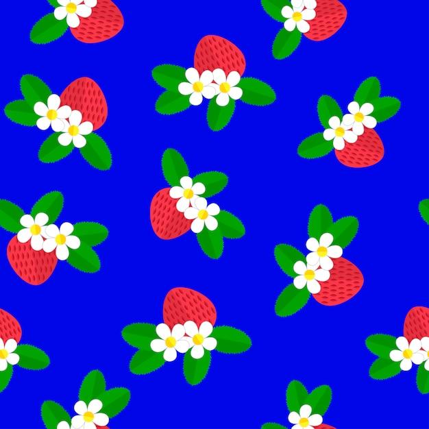 Ilustração vetorial teste padrão sem emenda com as morangos vermelhas da baga, as flores brancas e as folhas do verde em um azul. Vetor Premium
