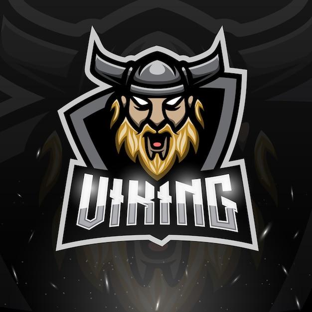 Ilustração viking head mascote esport Vetor Premium