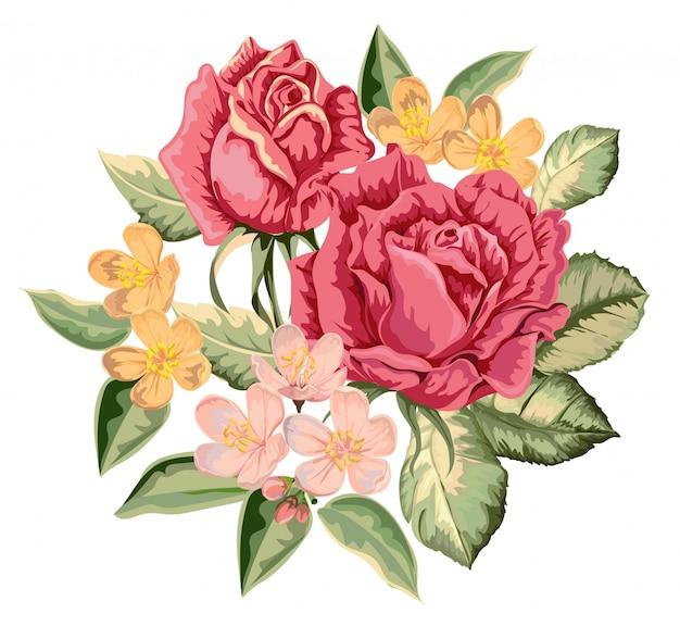 Ilustração vintage buquê de rosas Vetor Premium