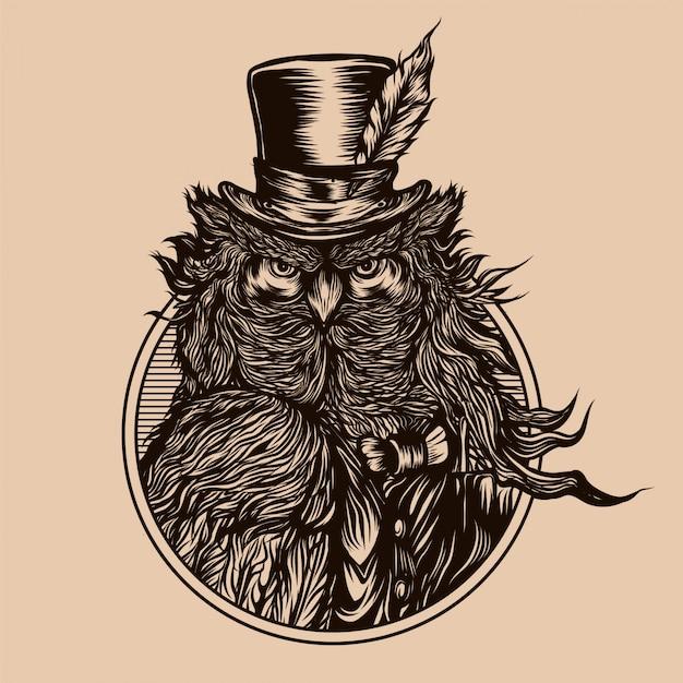 Ilustração vintage de coruja cavalheiro Vetor Premium