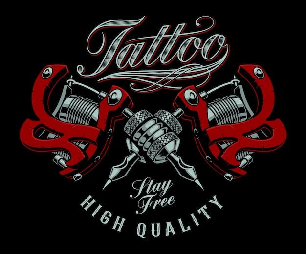 Ilustração vintage de máquinas de tatuagem em um fundo escuro. todos os itens estão em grupos separados. ideal para impressão de camisetas Vetor Premium