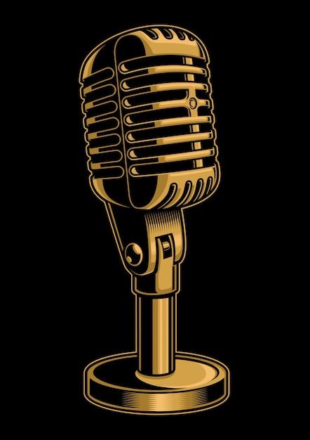 Ilustração vintage de microfone colorido em fundo preto Vetor Premium