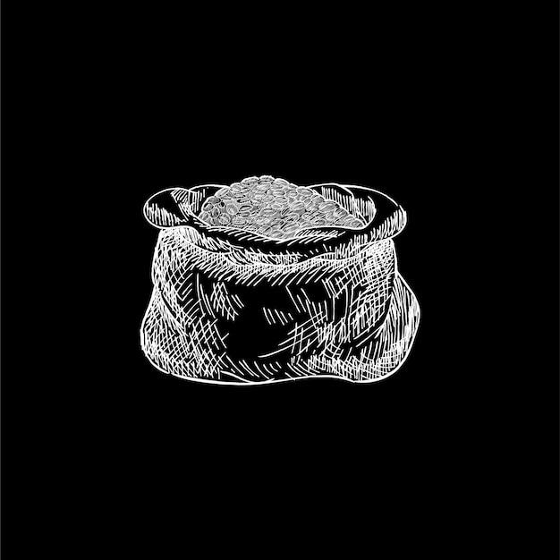 Ilustração vintage de um saco de grãos de café Vetor grátis