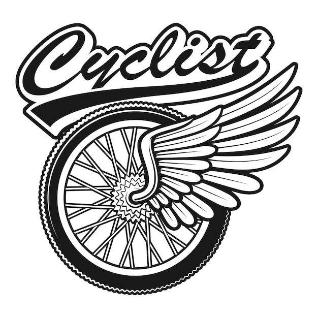 Ilustração vintage de uma roda de bicicleta com asa em fundo branco Vetor Premium