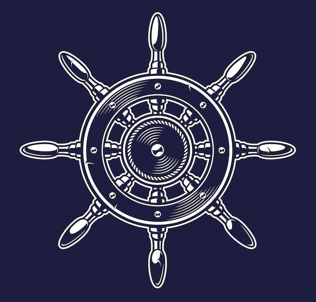 Ilustração vintage monocromática da roda de um navio em fundo escuro Vetor Premium