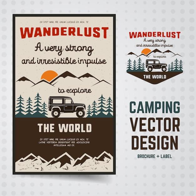 Ilustração wanderlust camping Vetor Premium