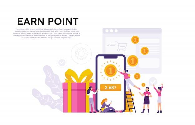 Ilustrações conceituais de consumidores ou usuários que recebem pontos e recompensas de provedores de serviços Vetor Premium