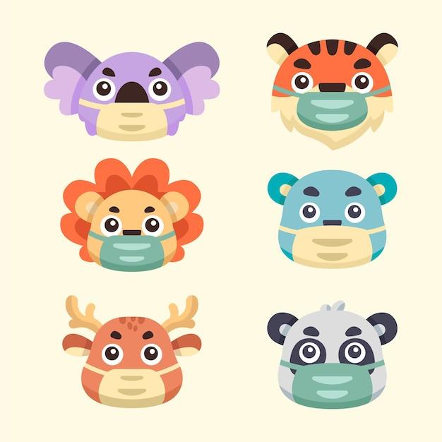 Ilustrações de animais fofos da coleção usam máscaras Vetor Premium