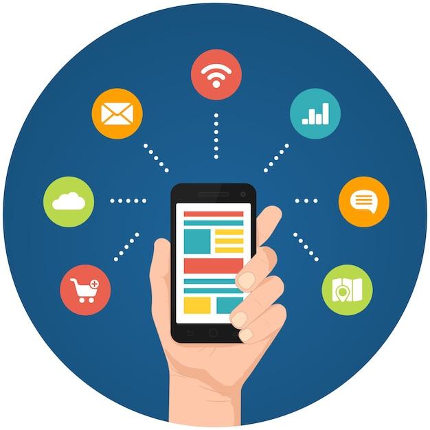 Ilustrações de aplicativos de smartphone com uma mão segurando um telefone com ícones circulares vinculados Vetor grátis