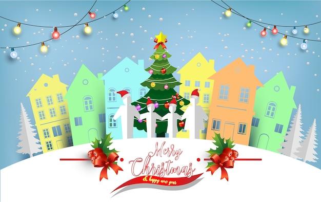 Ilustrações de árvores de natal e casas e famílias no inverno. arte de design e artesanato Vetor Premium