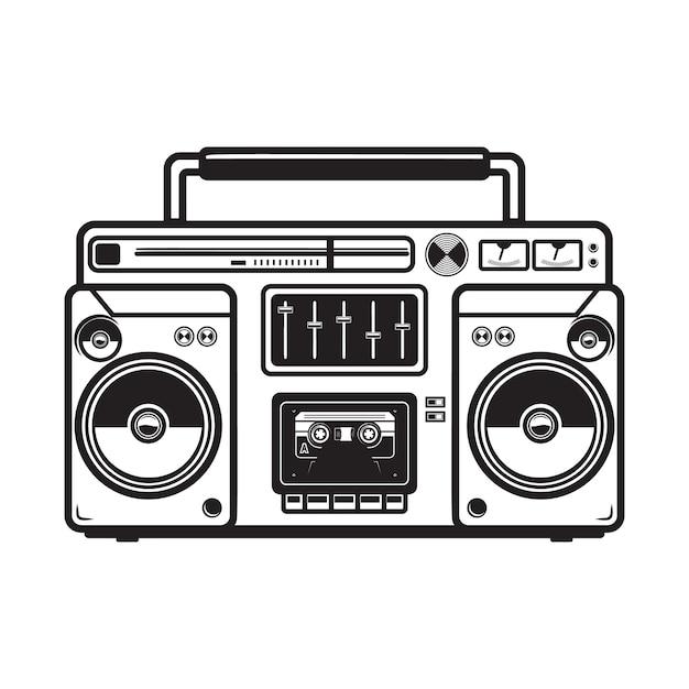 Ilustrações de boombox em fundo branco. elemento para logotipo, etiqueta, emblema, sinal, emblema, cartaz, camiseta. imagem Vetor Premium