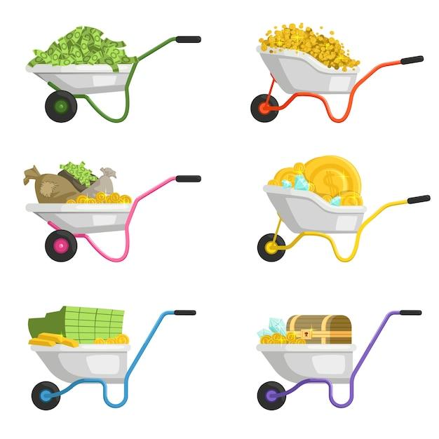 Ilustrações de carrinho de mão com dinheiro. conjunto de vetores Vetor Premium