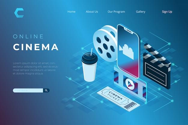 Ilustrações de cinema online, assistindo filmes com um smartphone no estilo 3d isométrico Vetor Premium