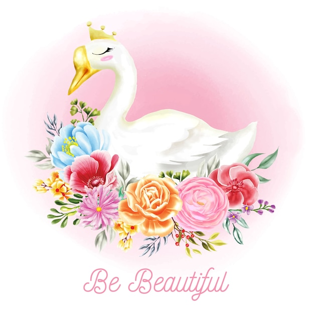 Ilustrações de cisne branco com flores de aquarela Vetor Premium
