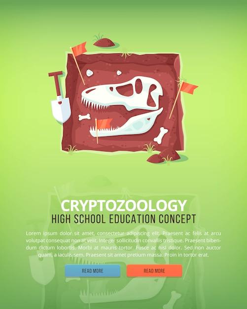 Ilustrações de conceito de educação e ciência. criptozoologia. ciência da vida e origem das espécies. bandeira. Vetor Premium