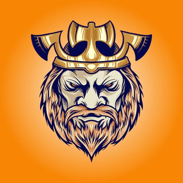 Ilustrações de desenho animado da cabeça do rei viking com machado Vetor Premium