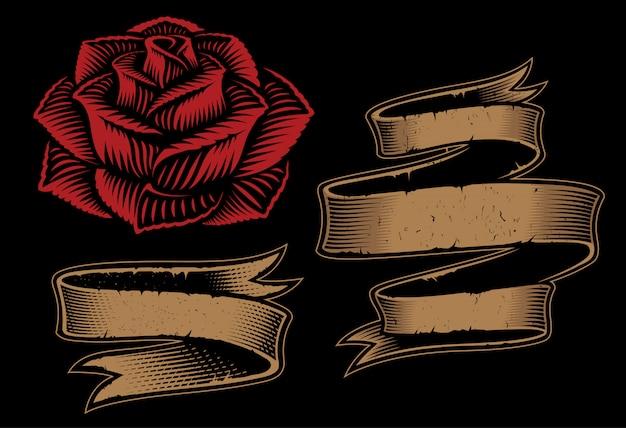 Ilustrações de duas fitas e rosas para o projeto no fundo escuro. Vetor Premium