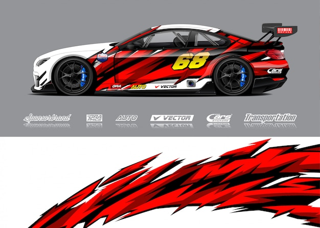 Ilustrações de envoltório de carro de corrida Vetor Premium