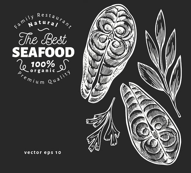 Ilustrações de filés de peixe. mão-extraídas ilustração em vetor frutos do mar no quadro de giz. estilo gravado. comida vintage, pedaço de salmão ou truta Vetor Premium