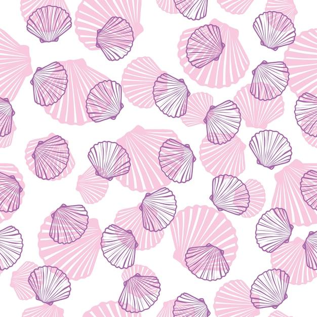 Ilustrações de mão desenhada - padrão sem emenda de conchas do mar. fundo marinho. Vetor Premium
